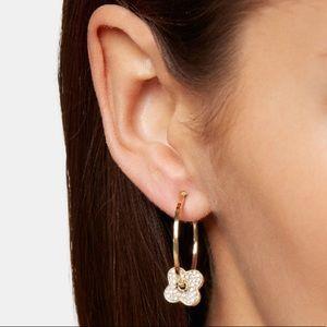 NWOT Henri Bendel Rose Gold Hoop Clover Earrings